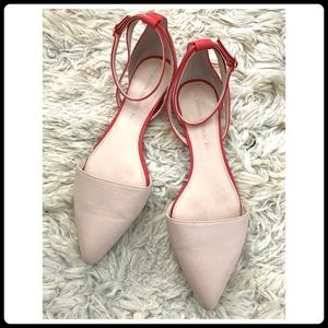 BANANA REPUBLIC Amirah Flat in nude & red leather